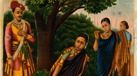 V0045072 Sakuntala with two females surprised by King Dushyanta. Chro Credit: Wellcome Library, London. Wellcome Images images@wellcome.ac.uk http://wellcomeimages.org Sakuntala with two females surprised by King Dushyanta. Chromolithograph. Published:  -   Copyrighted work available under Creative Commons Attribution only licence CC BY 4.0 http://creativecommons.org/licenses/by/4.0/