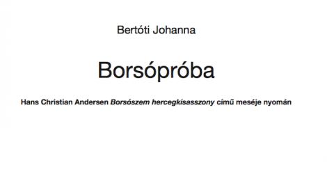 Bertóti Johanna: Borsópróba